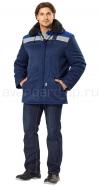 Куртка Бригада утепленная, цвет темно-синий с васильковой отделкой (с 96-100 по 120-124; 170-176, 182-188)
